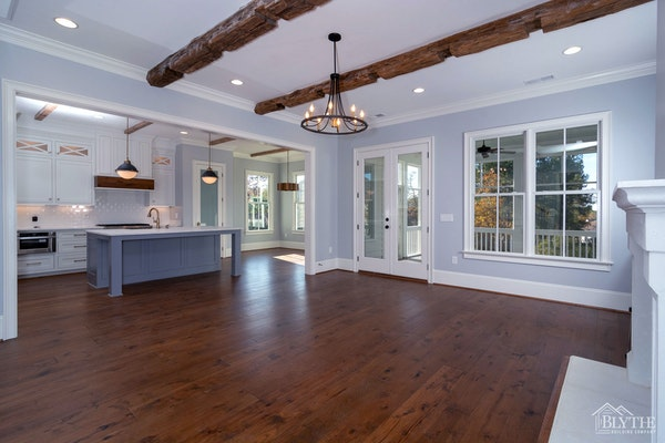 Notched Rustic Wood Ceiling Beams Great Room Home Builder Sc