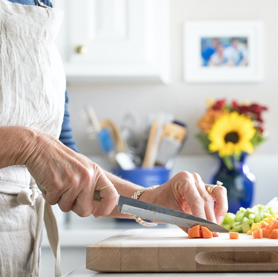 Food preparation in a scullery or prep kitchen