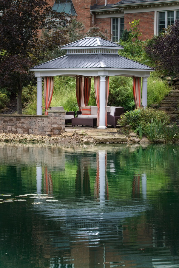 Patio with pavilion near a lake