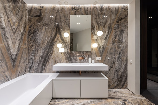 Marble bathroom with marble walls and marble floors