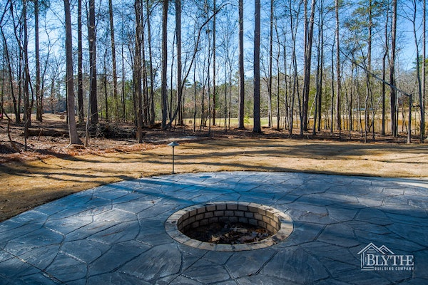 Stamped Concrete Patio With Custom Sunken Fire Pit