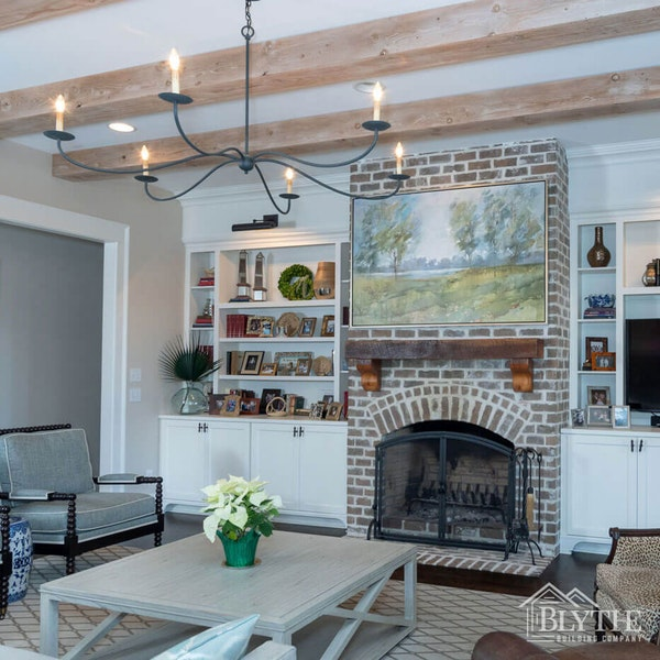 Rustic Wood Beams And Brick Fireplace Living Room Home Builder Sc