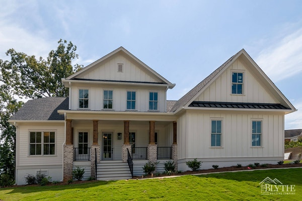 Modern Craftsman-style home with gables and board and batten siding accents - New Home Lexington, SC
