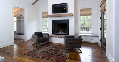 Fireplace Shiplap Brick Vaulted Ceiling Home Builder Sc