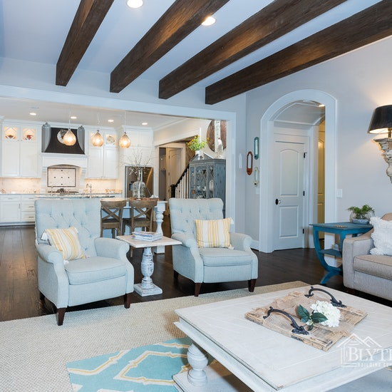 Wood ceiling beams in custom home Blythe Building Company