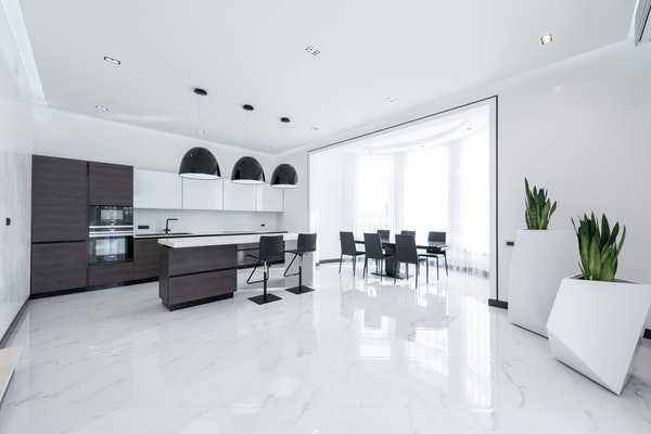 Marble flooring in a modern home