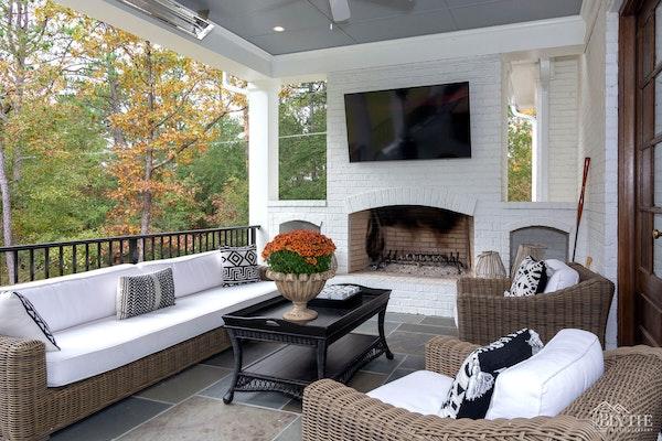Outdoor Living Room Porch Fireplace Home Builder Sc