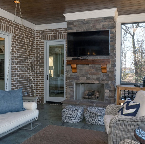 Outdoor Living Room Fireplace Porch Swing Home Builder Sc