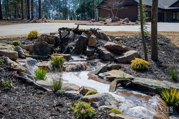 Landscaped Rock Waterfall Feature in Lexington, SC