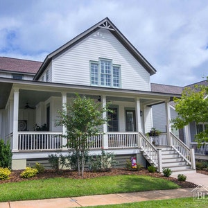 Southern Wrap Around Porch Decorated Gable Home Builder Sc