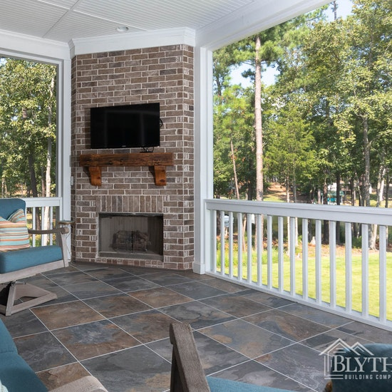 Backporch With Fireplace and outdoor TV