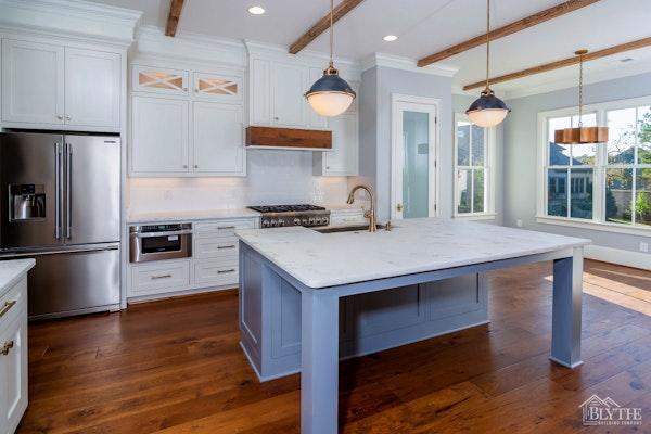 Eat In Kitchen Island Blue White Kitchen Home Builder Sc