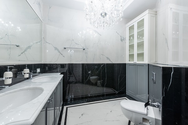 Marble bathroom with marble walls and floors