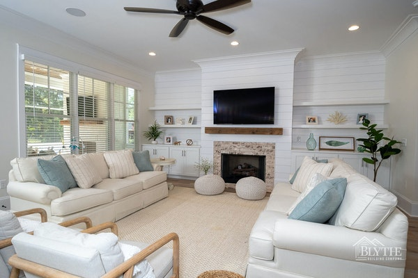 Shiplap Accent Wall Fireplace Floating Shelves Living Area
