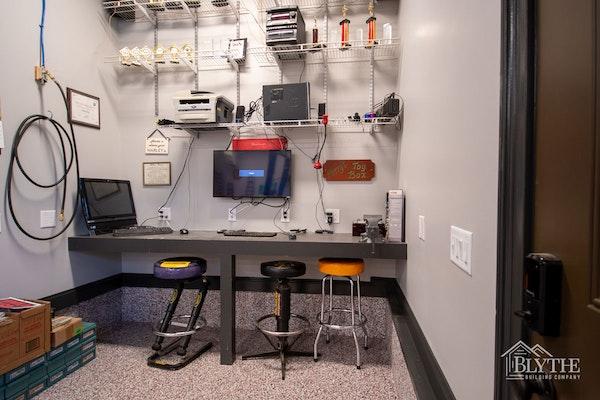 Custom Luxury Garage Office Computer Area
