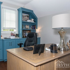 Home Office With Blue Cabinets