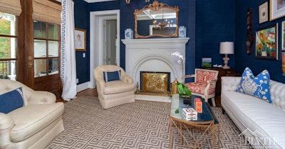 Dark Blue Living Room Tray Ceilings Home Builder Sc
