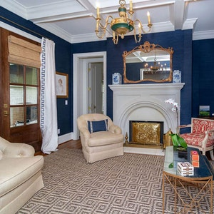 Dark Blue Living Room Tray Ceilings Home Builder Sc