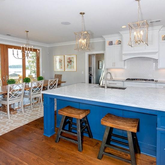White Kitchen With Blue Island