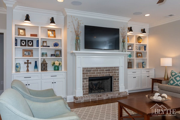 Fireplace And Built In Bookshelves 1
