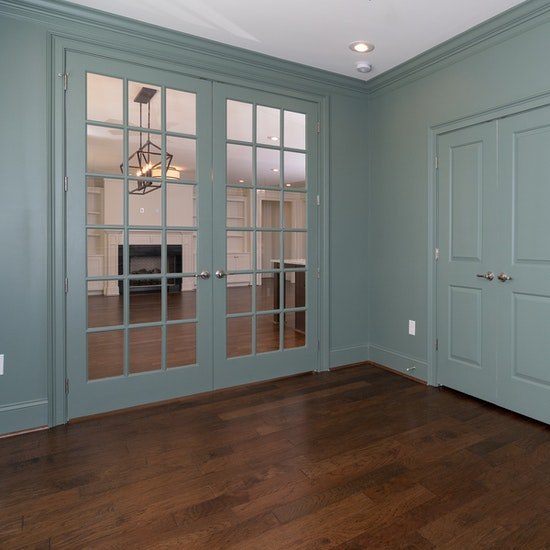 Green Study With Double Doors To Kitchen