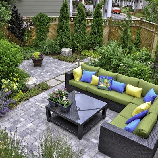 Backyard patio and garden oasis