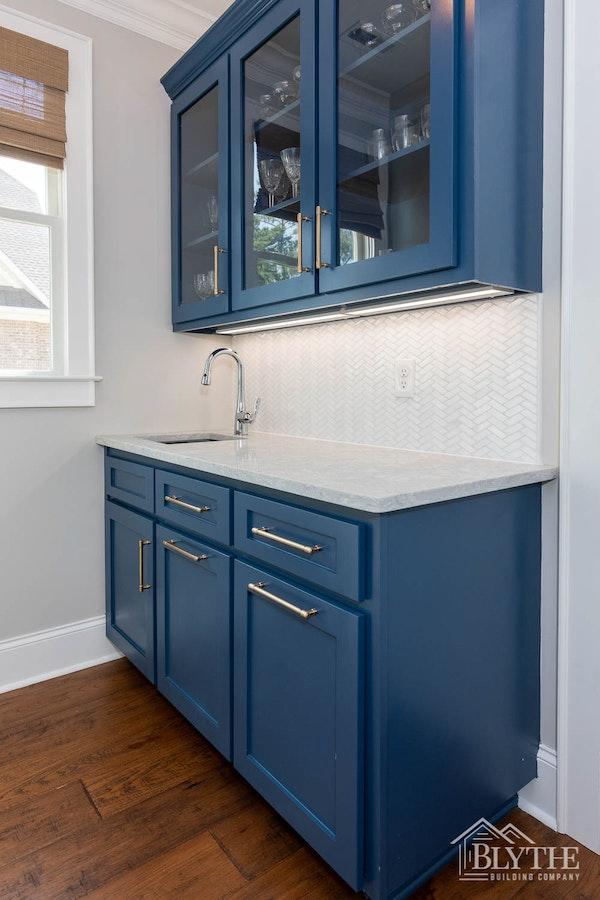 Blue Cabinets Wet Bar