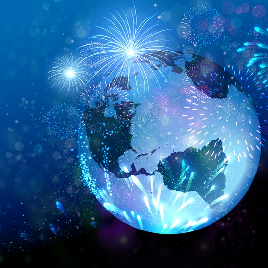earth with gradient blue background and fireworks on all sides of the world